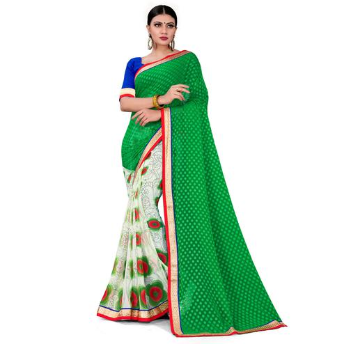 Flattering Green-White Colored Party Wear Floral Printed Georgette half-half Saree