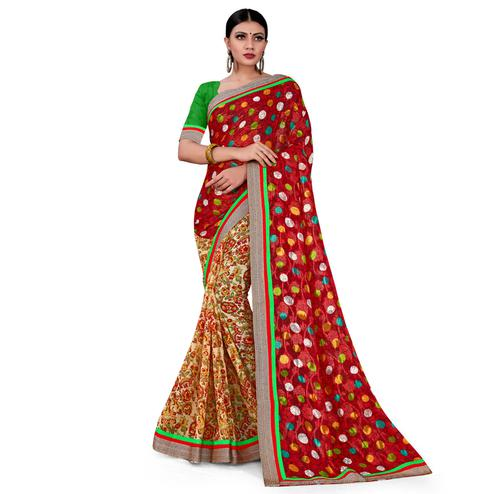 Marvellous Red-Brown Colored Party Wear Floral Printed Georgette half-half Saree