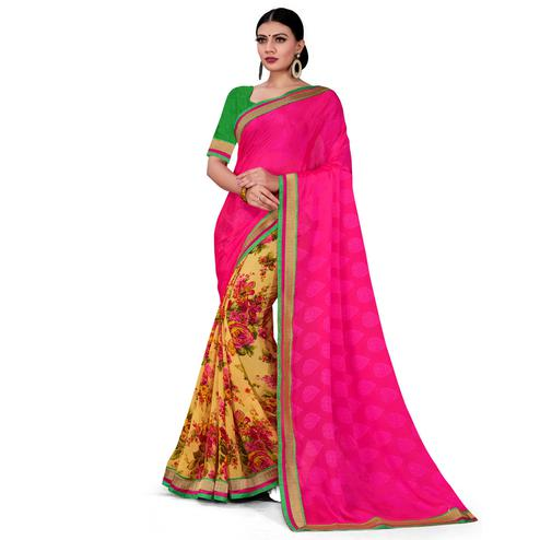 Pretty Pink-Yellow Colored Party Wear Floral Printed Georgette half-half Saree