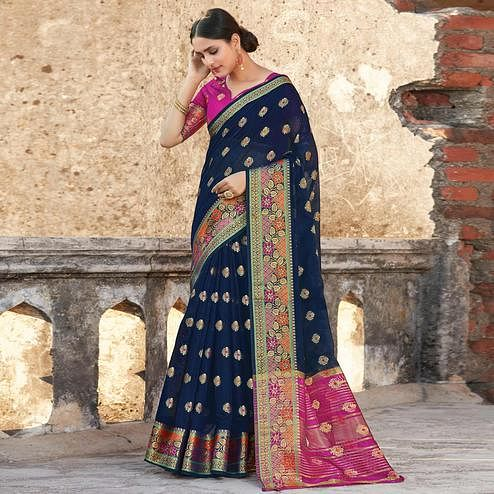 Prominent Navy Blue Colored Festive Wear Woven Cotton Handloom Saree