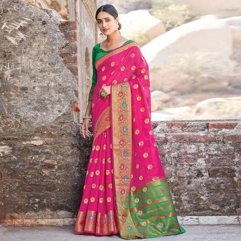 Capricious Pink Colored Festive Wear Woven Cotton Handloom Saree