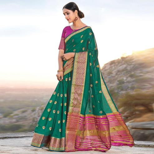 Entrancing Green Colored Festive Wear Woven Cotton Handloom Saree