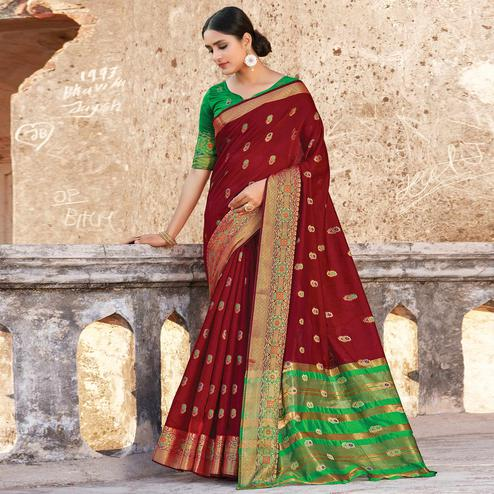Groovy Brown Colored Festive Wear Woven Cotton Handloom Saree