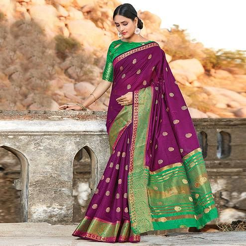 Adorning Purple Colored Festive Wear Woven Cotton Handloom Saree