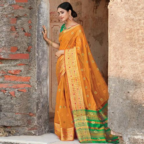 Flirty Orange Colored Festive Wear Woven Cotton Handloom Saree