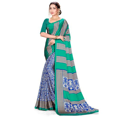 Eye-catching Green Colored Festive Wear Printed Satin Crepe Saree