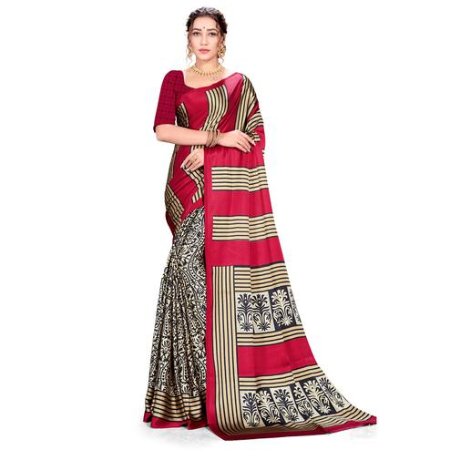 Fantastic Red Colored Festive Wear Printed Satin Crepe Saree