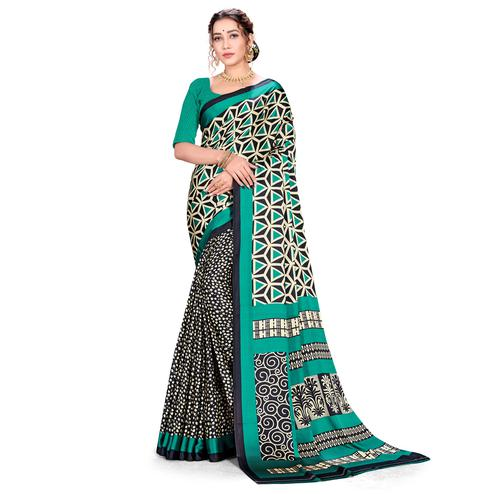 Amazing Green Colored Festive Wear Printed Satin Crepe Saree