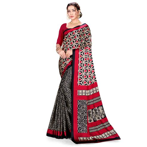 Gorgeous Red Colored Festive Wear Printed Satin Crepe Saree