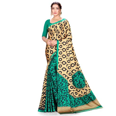 Blissful Green-Cream Colored Festive Wear Printed Satin Crepe Saree