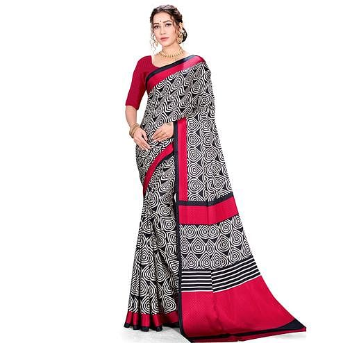 Ideal Red-Black Colored Festive Wear Printed Satin Crepe Saree