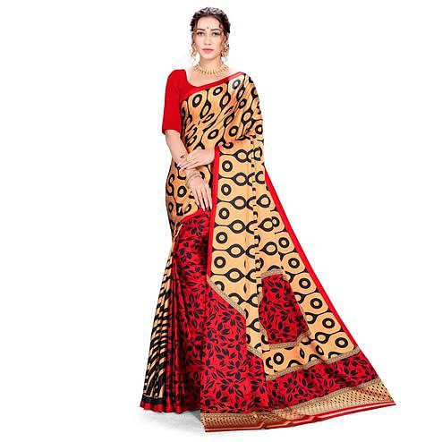 Imposing Red-Cream Colored Festive Wear Printed Satin Crepe Saree