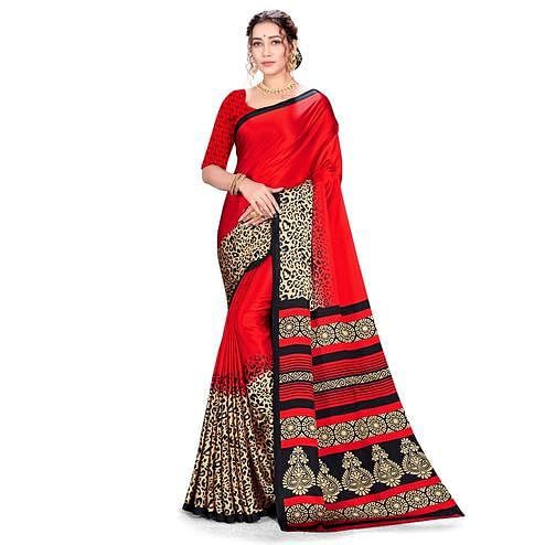 Majesty Red Colored Festive Wear Printed Satin Crepe Saree