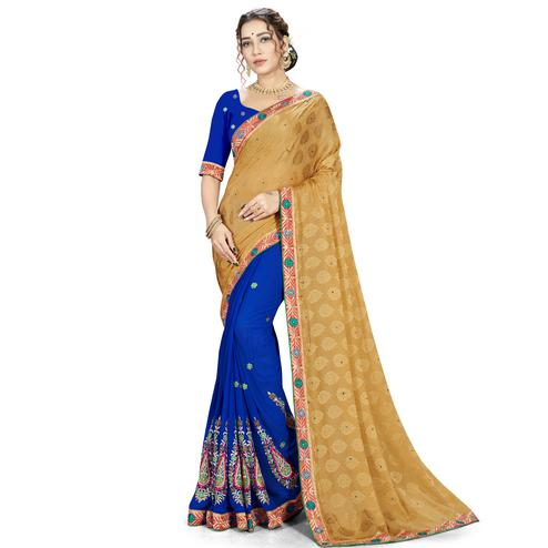 Ravishing Brown-Blue Colored party Wear Embroidered Georgette Half-Half Saree