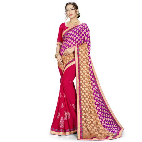 Staring Maroon-Brown Colored party Wear Embroidered Georgette Half-Half Saree