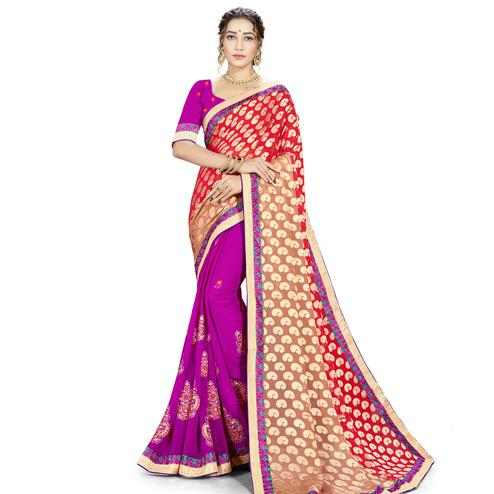 Surpassing Red-Purple Colored party Wear Embroidered Georgette Half-Half Saree