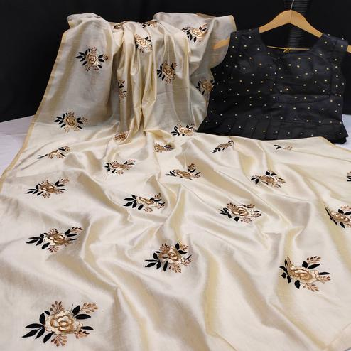 Capricious Offwhite Colored Partywear Floral Embroidered Assam Silk Saree