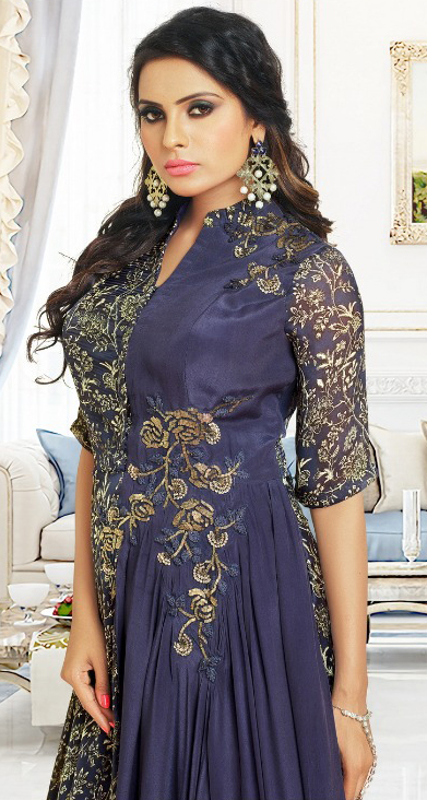Mesmerising Navy Blue Colored Partywear Digital Printed And Embroidered Pure Satin Gown