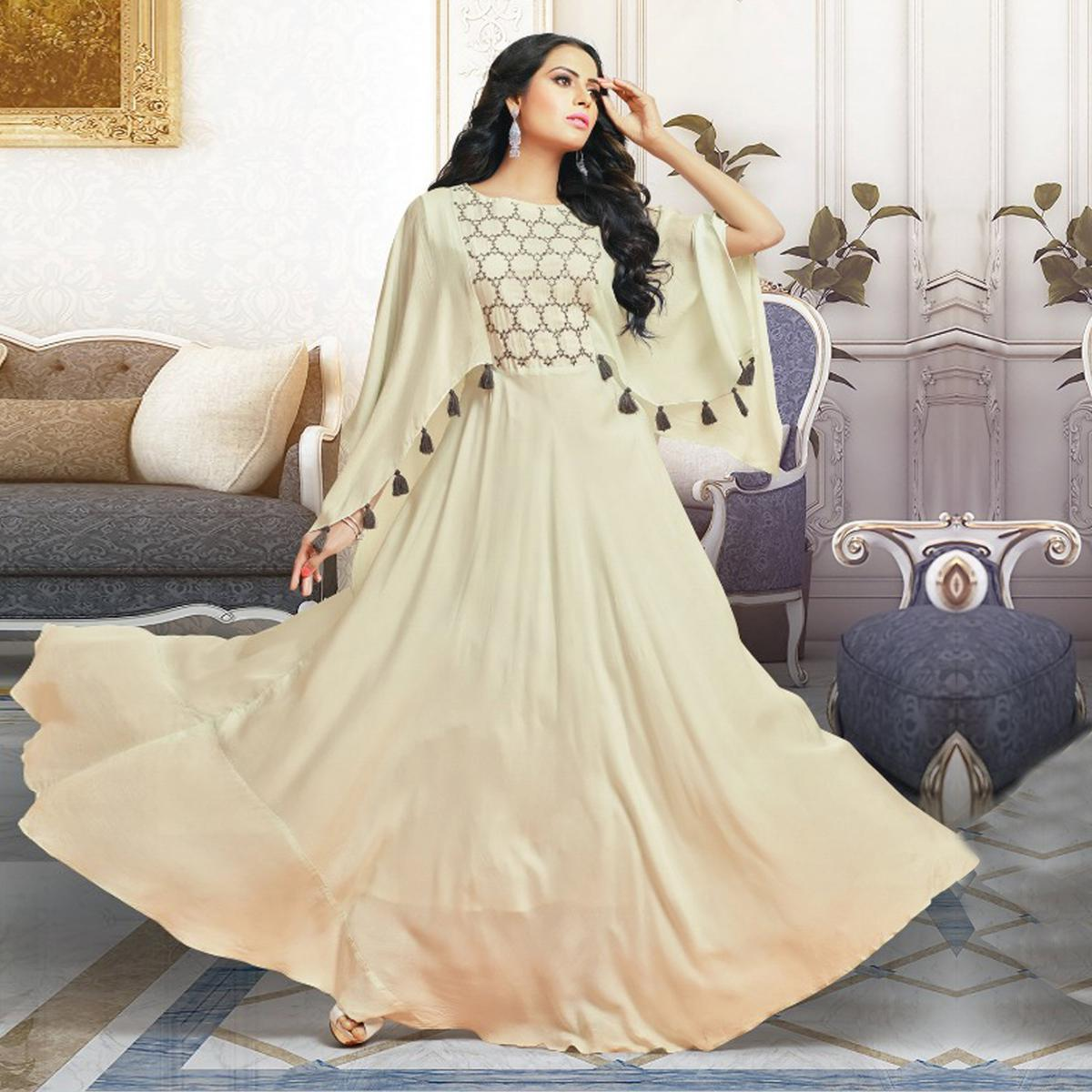 Buy Elegant Off White Colored Partywear Digital Printed Pure Cotton ...