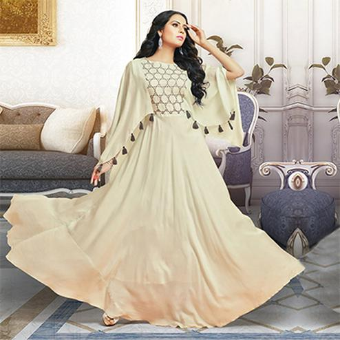 Elegant Off White Colored Partywear Digital Printed Pure Cotton Silk Gown