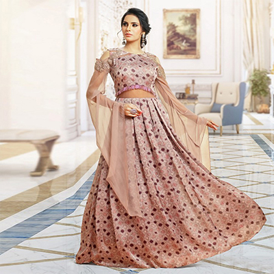 Charismatic Pink Colored Partywear Digital Printed And Embroidered Pure Satin Gown