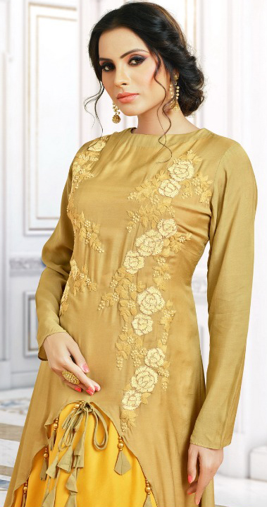 Ravishing Yellow Colored Party Wear Embroidered Pure Cotton Silk Gown