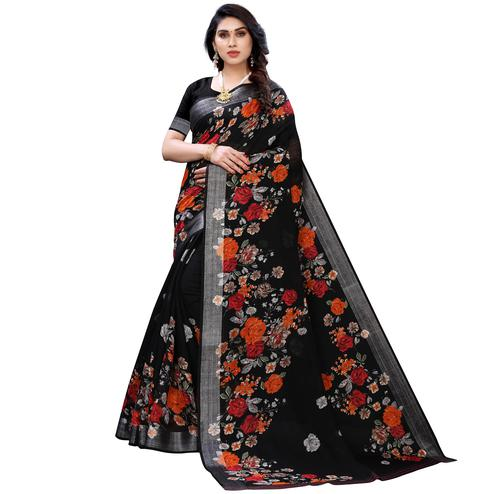 Beautiful Black Colored Casual Wear Floral Printed Linen Saree