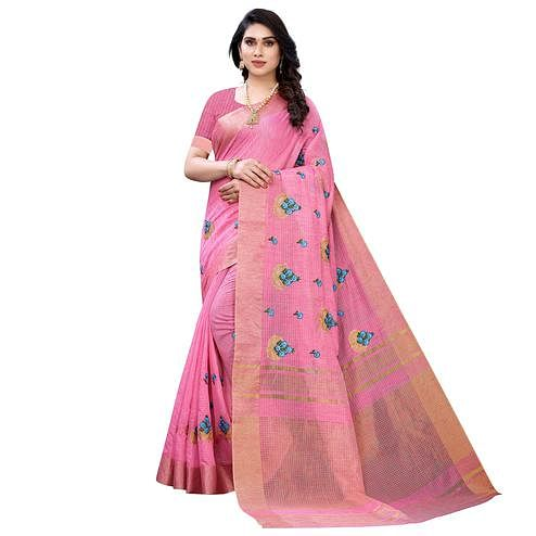 Graceful Pink Colored Festive Wear Embroidered Soft Linen Saree