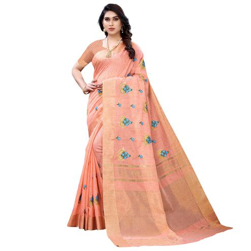 Charming Peach Colored Festive Wear Embroidered Soft Linen Saree