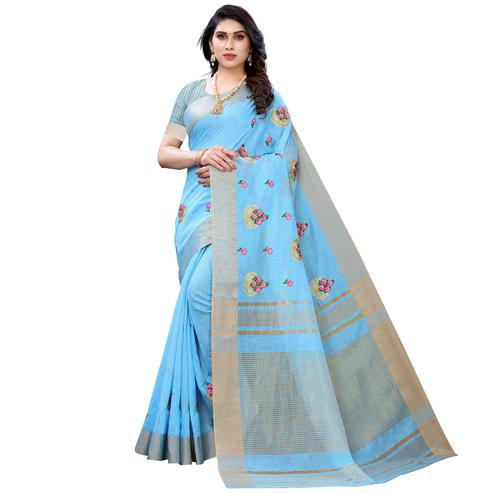 Jazzy Blue Colored Festive Wear Embroidered Soft Linen Saree