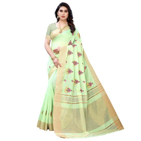 Ravishing Light Green Colored Festive Wear Embroidered Soft Linen Saree