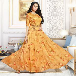 Fantastic Yellow Colored Party Wear Digital Printed Pure Satin Gown