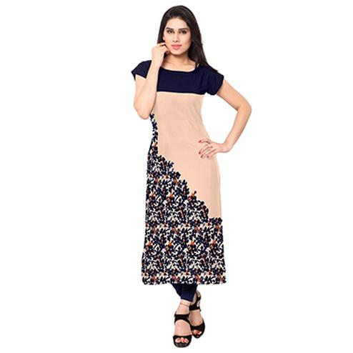 Peach - Navy Blue Floral Printed Kurti