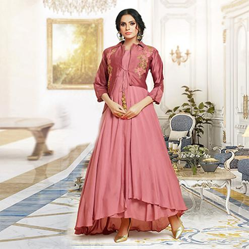 Appealing Pink Colored Party Wear Embroidered Pure Cotton Silk Gown