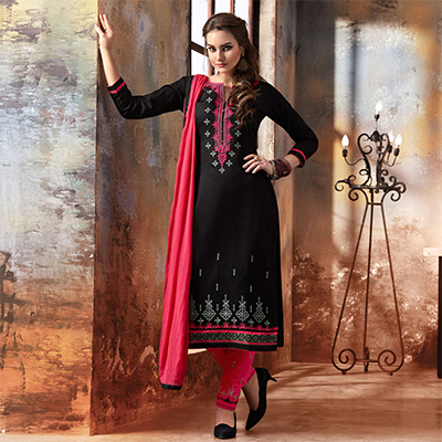 Black - Pink Embroidered Designer Cotton Suit