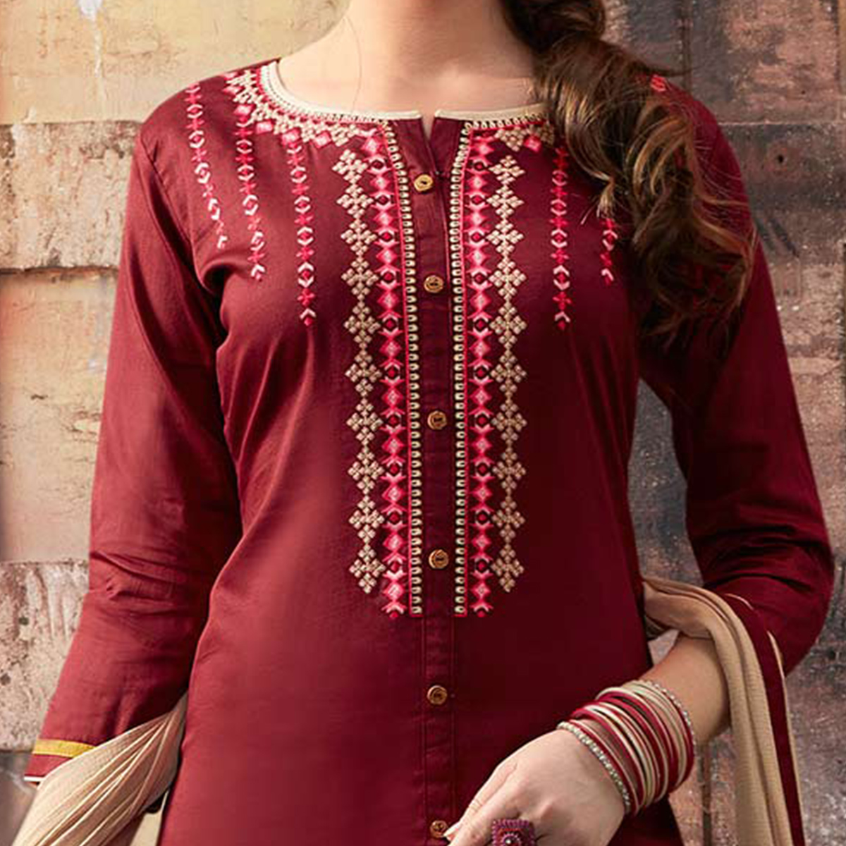 Maroon - Cream Embroidered Designer Cotton Suit