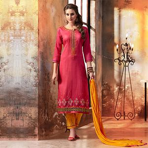 Pink - Yellow Embroidered Designer Cotton Suit