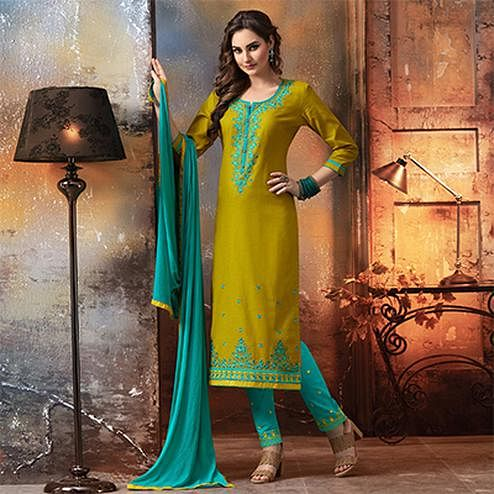 Yellow - Sky Blue Embroidered Designer Cotton Suit