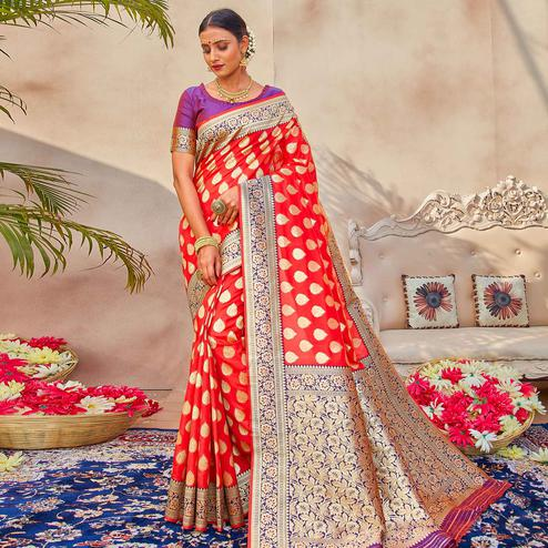Marvellous Red Colored Festive Wear Woven Silk Saree
