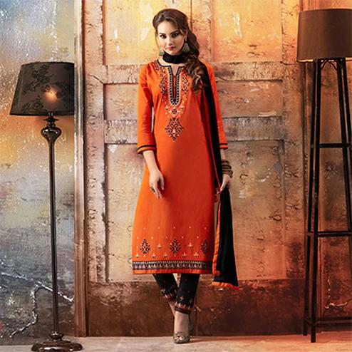 Orange - Black Embroidered Designer Cotton Suit