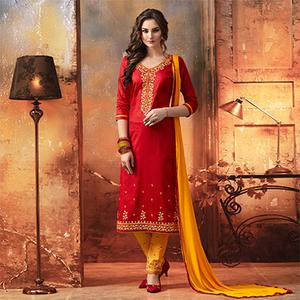 Red - Yellow Embroidered Designer Cotton Suit