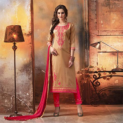 Beige - Pink Embroidered Designer Cotton Suit
