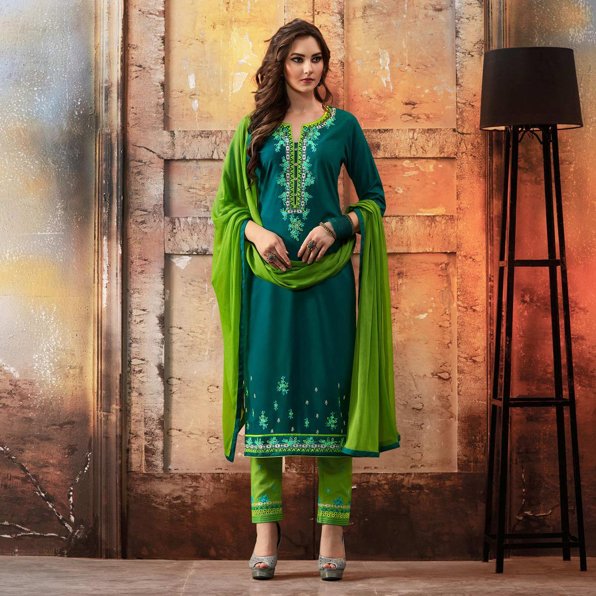 Teal - Green Embroidered Designer Cotton Suit