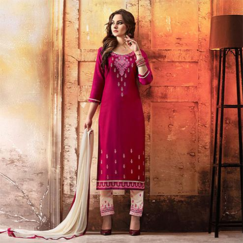 Magenta - White Embroidered Designer Cotton Suit