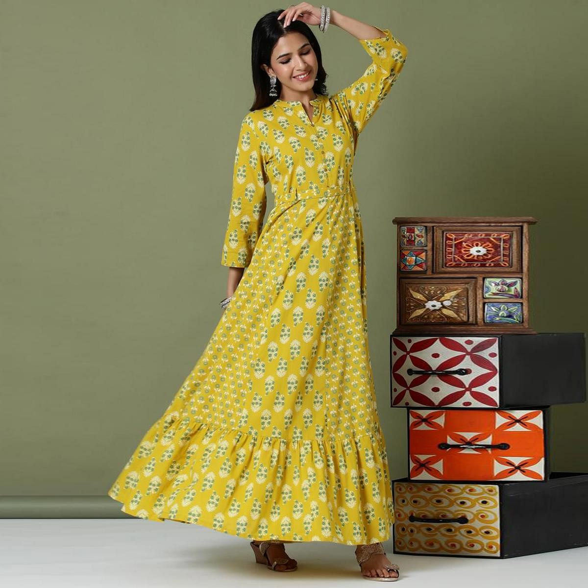 Attractive Yellow Colored Casual Wear Printed Cotton Long Kurti