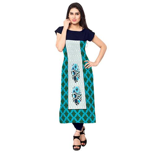 Blue - White Digital Printed Kurti