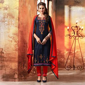 Navy blue - Red Embroidered Designer Cotton Suit