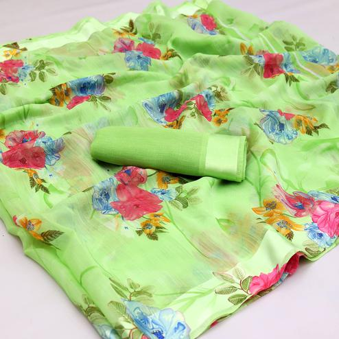 Amazing Green Colored Casual Wear Floral Printed Cotton Blend Saree