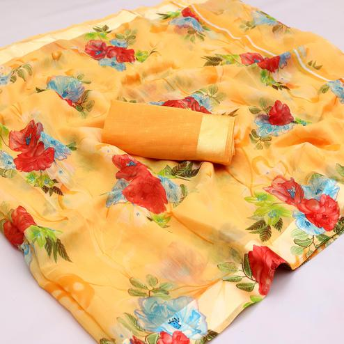 Blissful Orange Colored Casual Wear Floral Printed Cotton Blend Saree