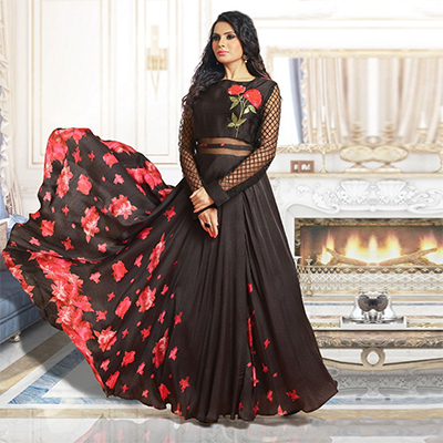 Stunning Black Colored Partywear digital Printed And Embroidered Pure Satin Gown